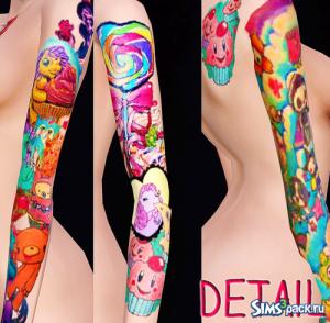 Симпатичные татуировки от Sushisims для Симс 3