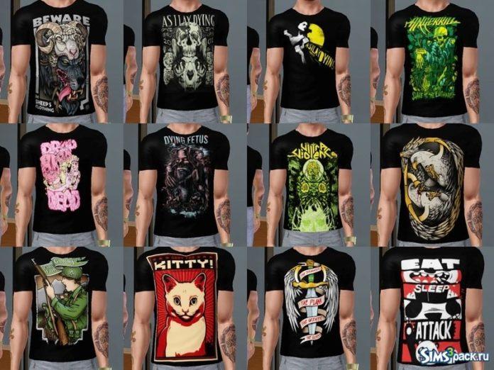 12 мужских футболок от killervamp663 для Симс 3