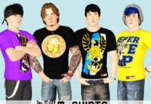 Футболки WWE для обоих полов от Woohoos для Симс 3