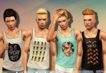 Мужские майки от Black Lily для Sims 3