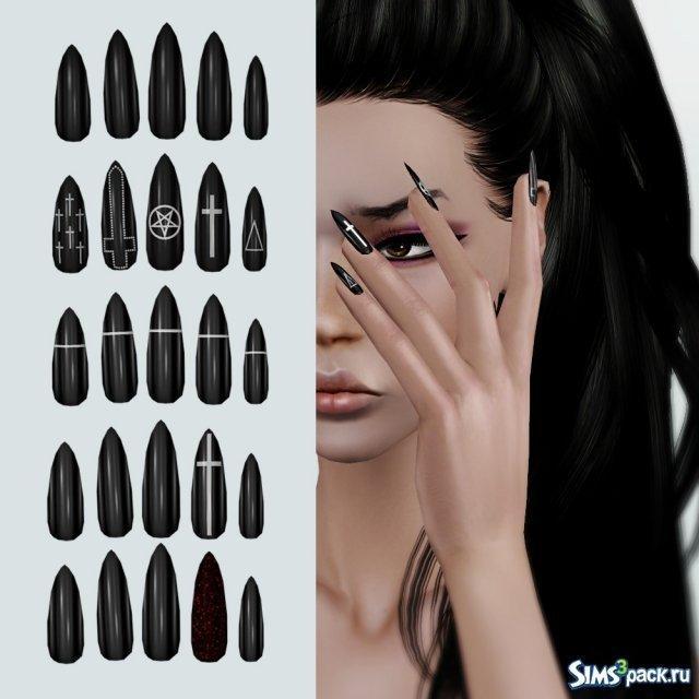 Черные ногти от Leahlillith для Симс 3