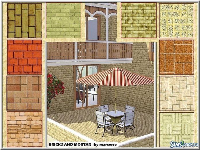 Кирпичные текстуры от marcorse для Sims 3