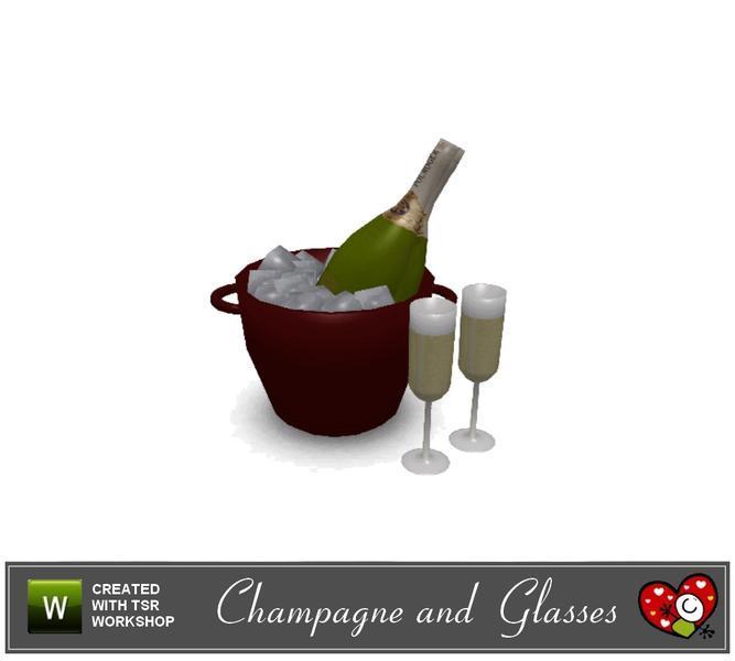 Бутылка шампанского от mensure для Sims 3