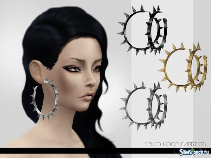 Серьги Spiked Hoop от Leah Lillith для Sims 4