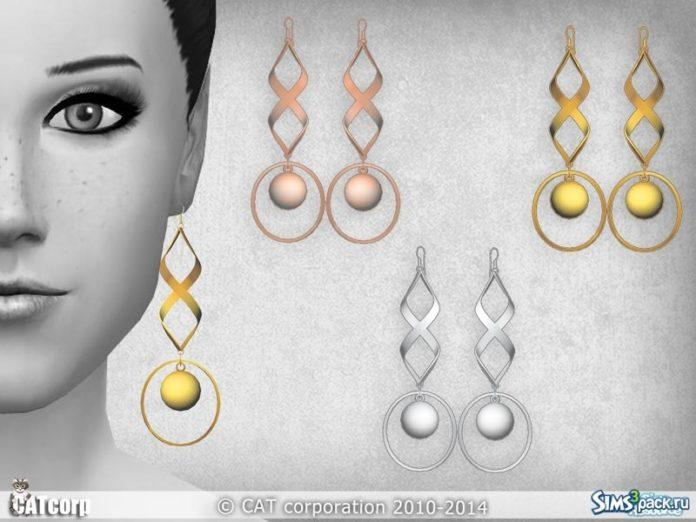 Серьги Metal от CATcorp для Sims 4
