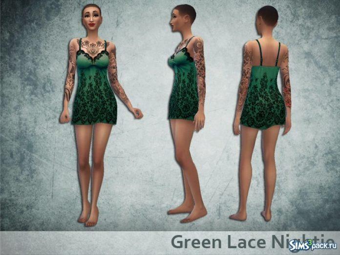 Зеленая ночная сорочка от oldmember_Yayael для Sims 4