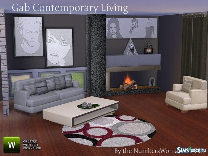 Гостиная Gab Contemporary от TheNumbersWoman для Симс 4