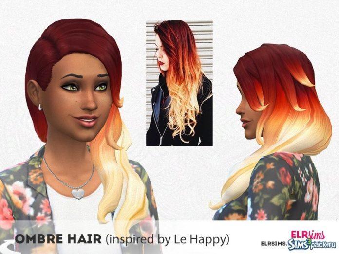 Женская прическа Ombre от elrsims для Sims 4