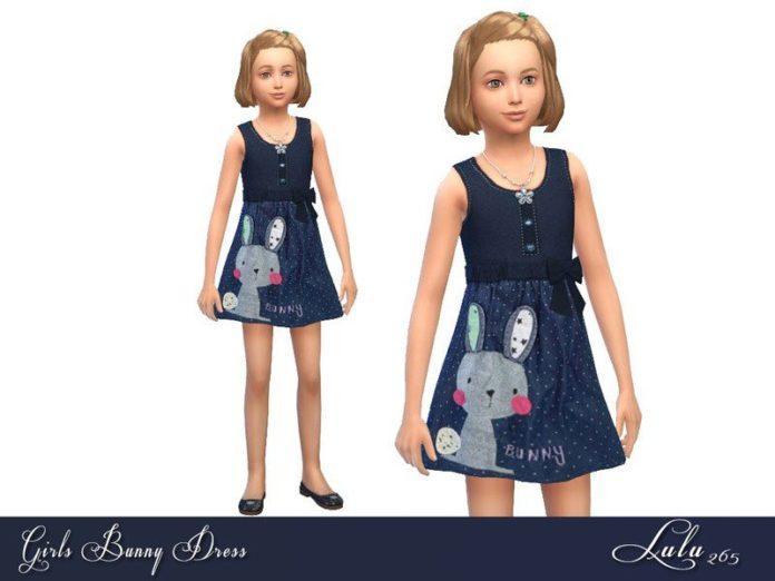Детское платье с кроликом от Lulu265 для Sims 4