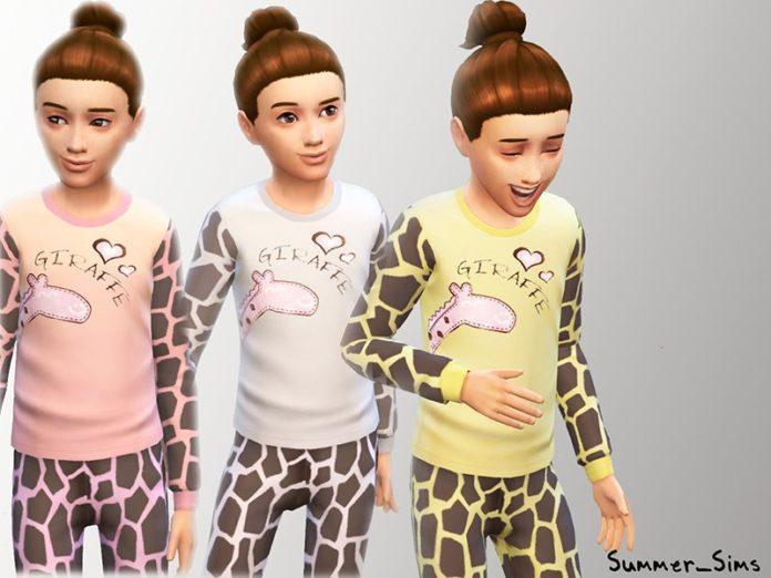 Детские пижамы с жирафом от Summer_Sims для Симс 4