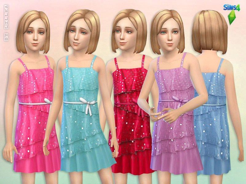 Детское платье Square Sequin от lillka для Sims 4