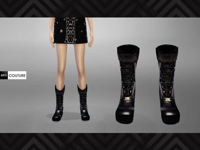 Женские кожаные сапоги от MissFortune для Sims 4