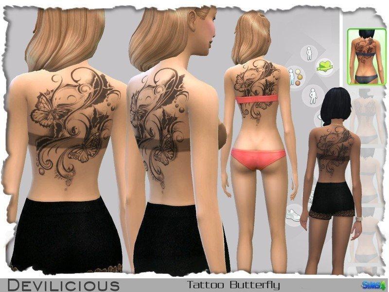 Татуировка с бабочками от Devilicious для Sims 4