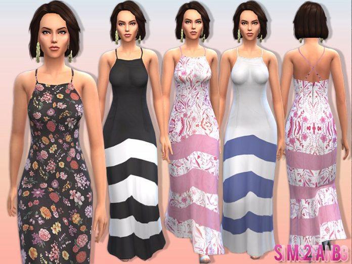 Платье maxi №10 от sims2fanbg для Симс 4