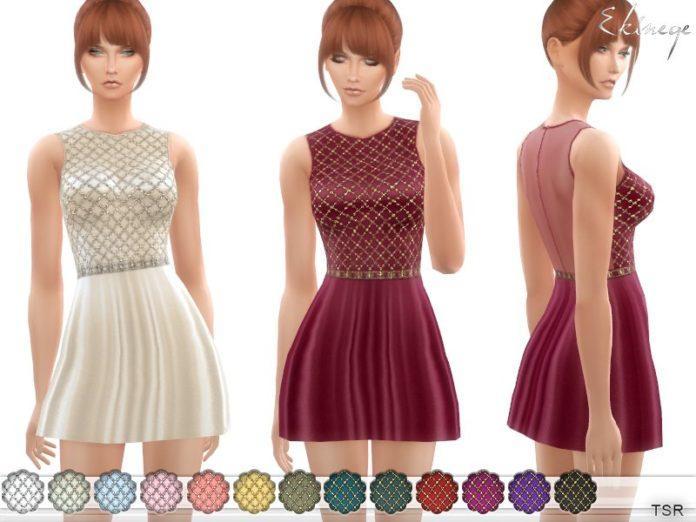 Платье Embellished от ekinege Симс 4