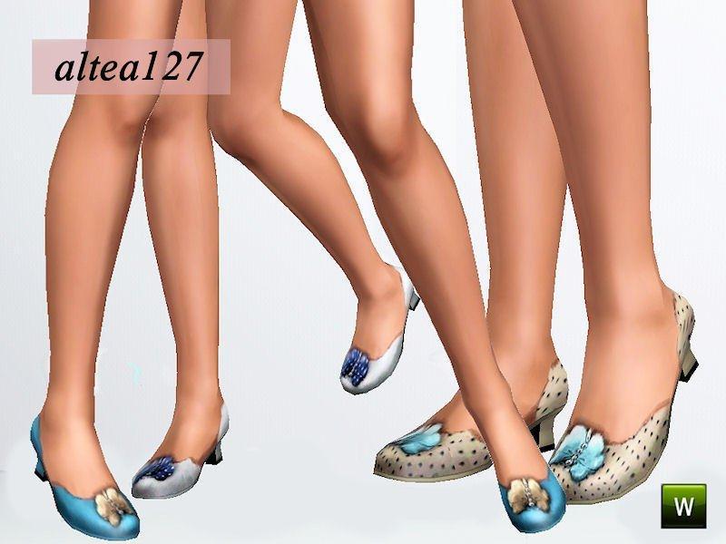 Туфли на низком каблуке с бабочками от altea127 для Симс 3
