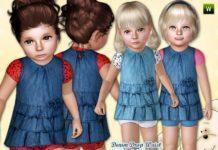 Джинсовое платье для девочки от lillka для Симс 3