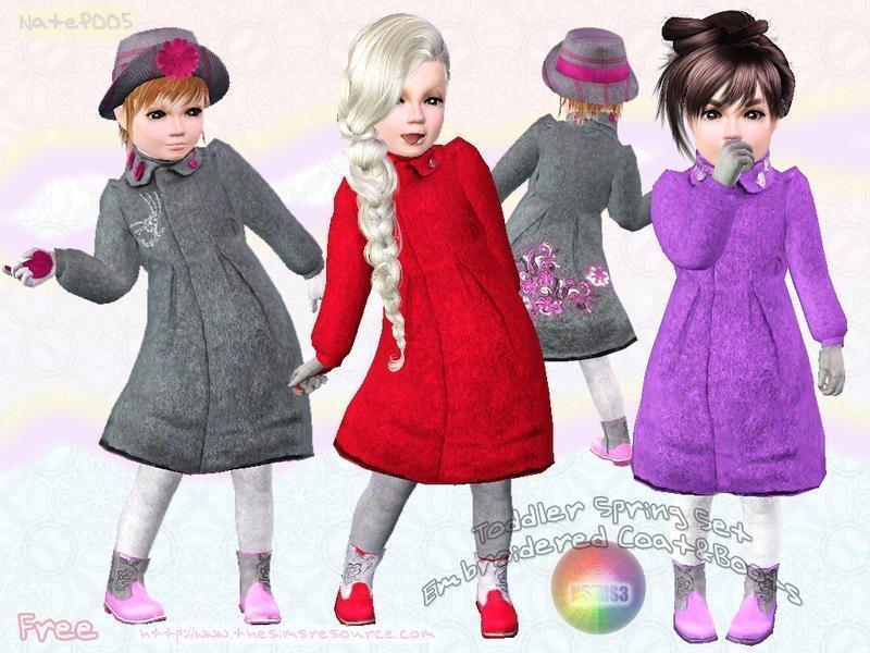 Весенняя детская одежда и обувь от natef005 для Симс 3