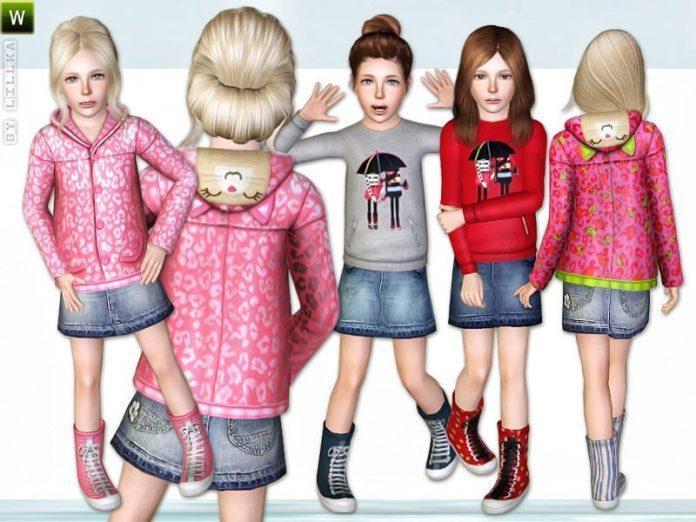 Набор одежды и обуви для девочек Rainy Day от lillka для Sims 3