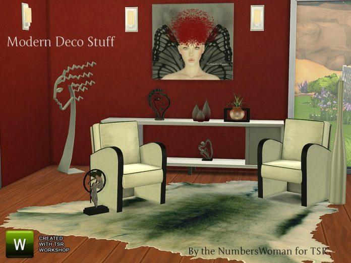 Набор мебели Modern Deco Stuff от TheNumbersWoman для Симс 4