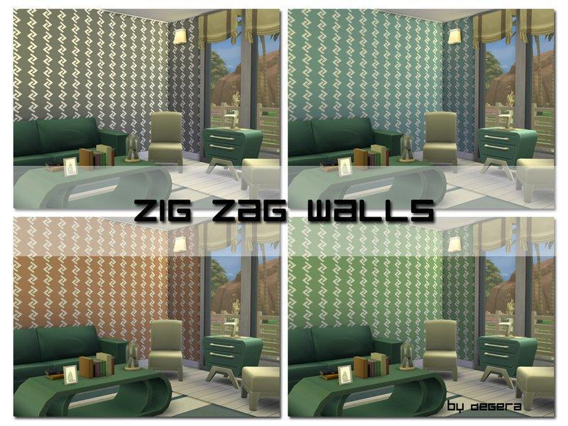 Стены Zig Zag от Degera для Sims 4