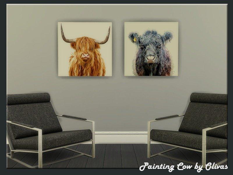 Картины с коровами от olivas2 для Sims 4