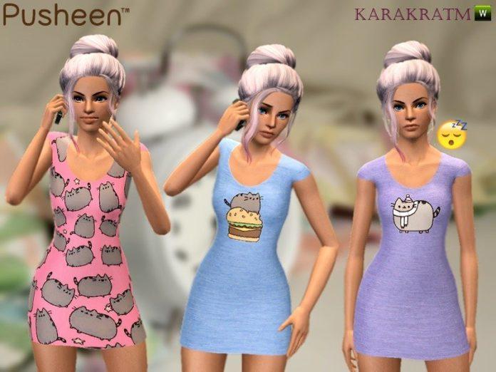Пижама с принтом Пушин (Pusheen) от karakratm для Sims 3