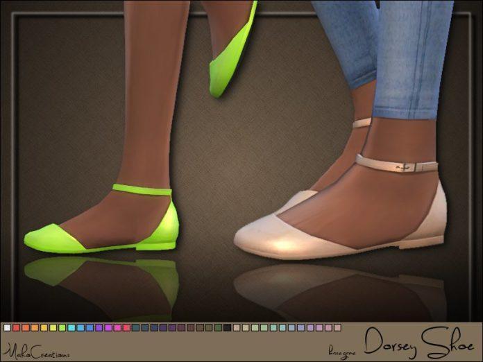 Босоножки Dorsey на плоской подошве от MahoCreations для Симс 4