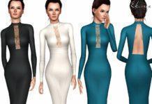 Скачать платье-карандаш от ekinege для Sims 3