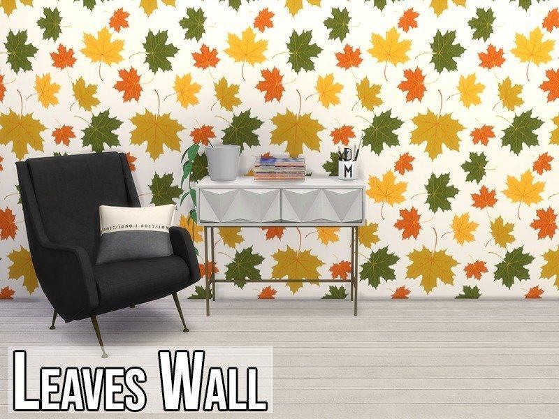 Обои с листьями от modelsims4 для Sims 4