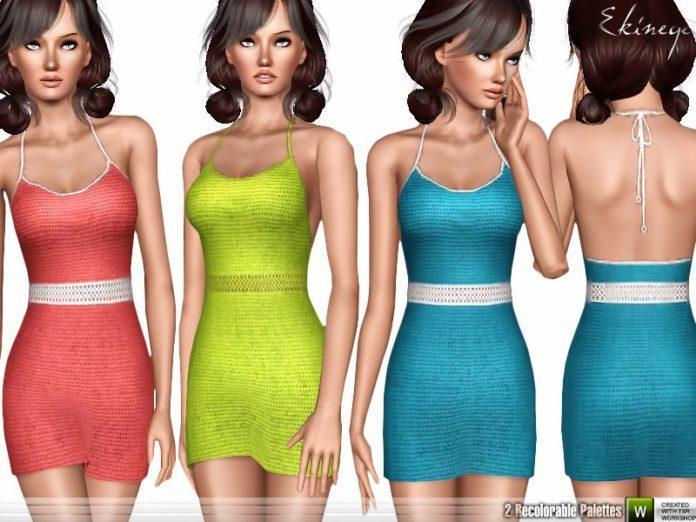 Скачать сарафан Crochet Halter Dress от ekinege для Симс 3