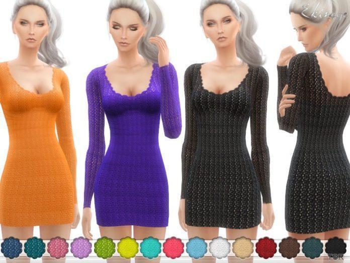 Вязаное платье Crochet Sweater Dress от ekinege для Симс 4