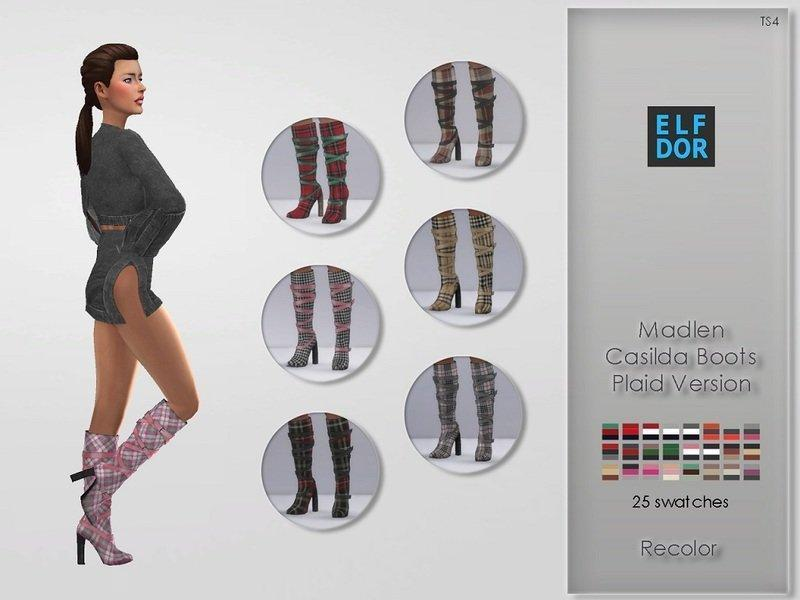 Сапоги с ремешками Casilda от MJ95 +Elfdor для Симс 4