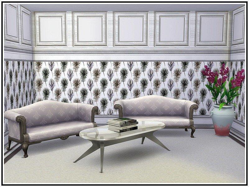 Обои с перьями от marcorse для Sims 4