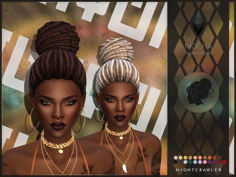 Прическа Mocha от Nightcrawler для Sims 4