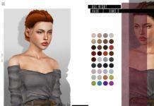 Прическа All Night (две косы) от LeahLillith для Sims 3