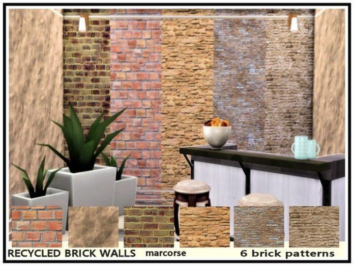 Набор кирпичных покрытий для стен от marcorse для Симс 4