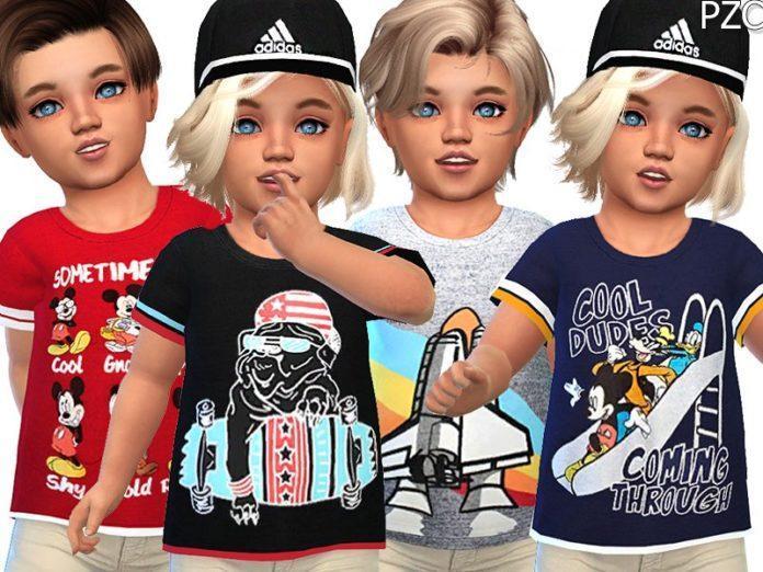 Детская футболка для мальчика от Pinkzombiecupcakes для Sims 4