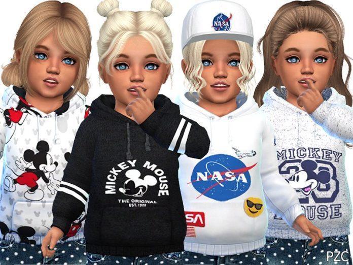Детские толстовки с Мики Маусом от Pinkzombiecupcakes для Sims 4