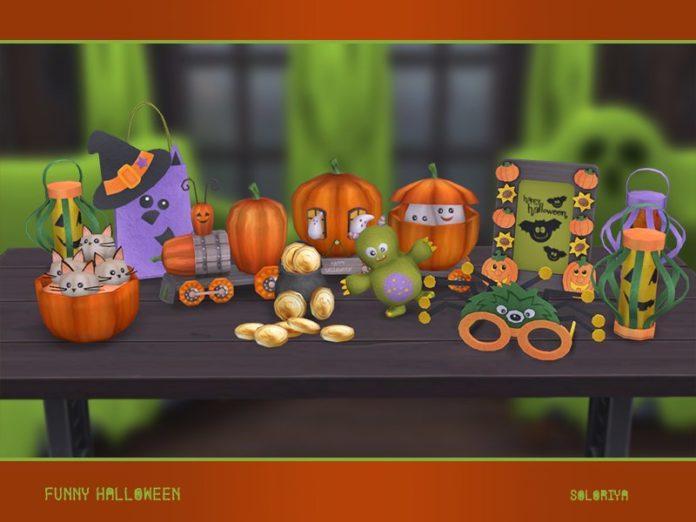 Набор декораций для Хеллоуина от soloriya для Sims 4