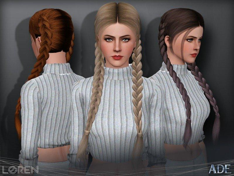 Прическа две косы Loren от Ade_Darma для Симс 3