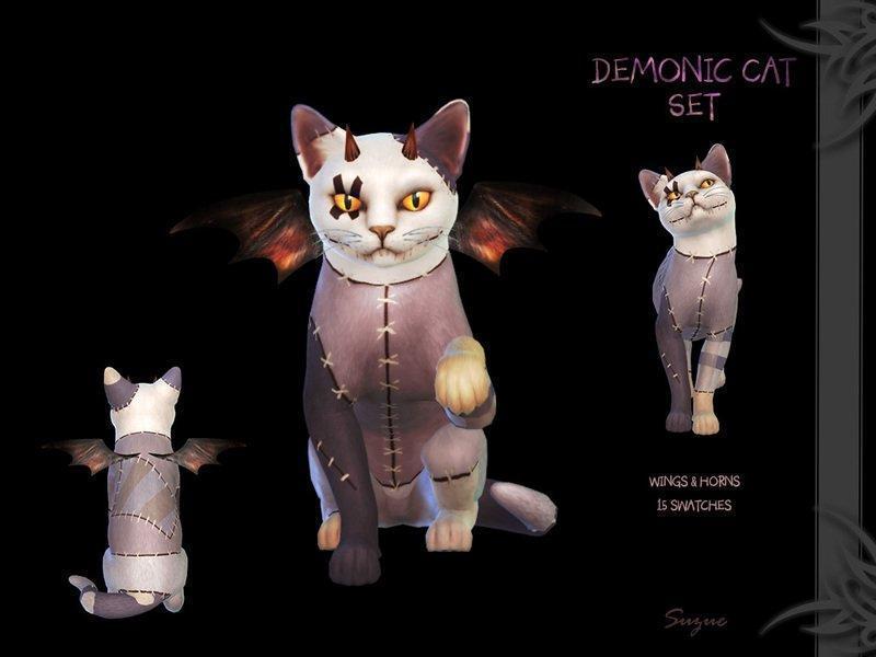 """Набор аксессуаров для кошек """"Demonic Cat"""" от Suzue для Sims 4"""