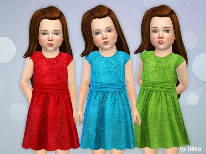 Праздничное платье для девочки от lillka для Sims 4