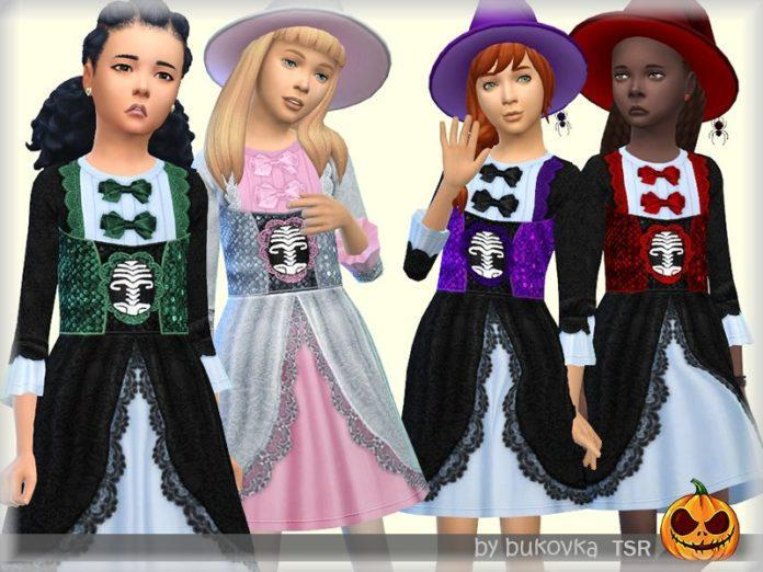 Платье маленькой ведьмы для Хеллоуина от bukovka для Sims 4