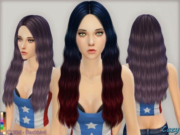 Длинные волнистые волосы от Cazy для Симс 4