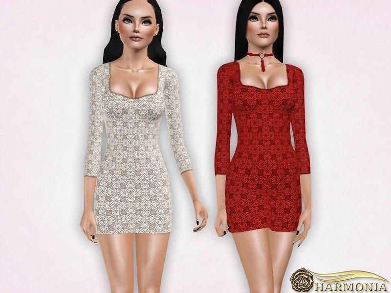 Кружевное мини платье от Harmoniaдля Sims 3