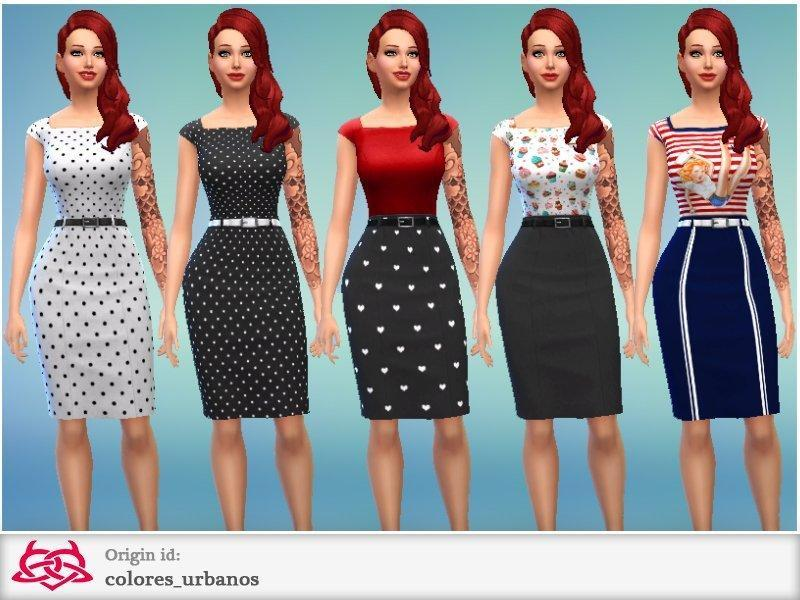 Платье-карандаш от Colores Urbanos для Sims 4