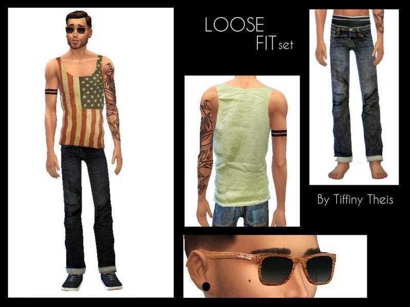 Мужская одежда и очки от tiffybee для Sims 4