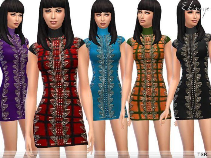Вязаное платье с заклепками от ekinege для Sims 4