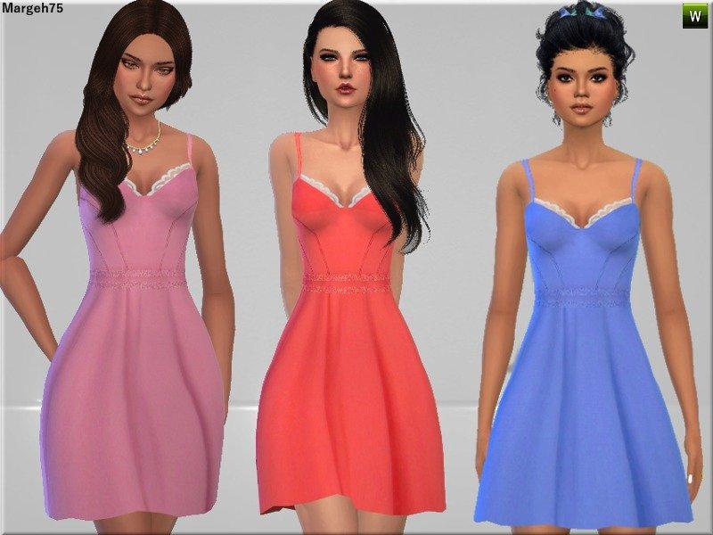 Расклешенное платье с оборками от Margeh-75 для Sims 4